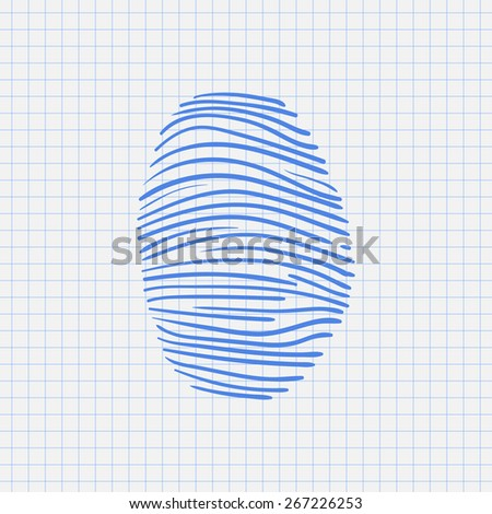 vector hand drawn fingerprint scan sketch on a white background - stock vector