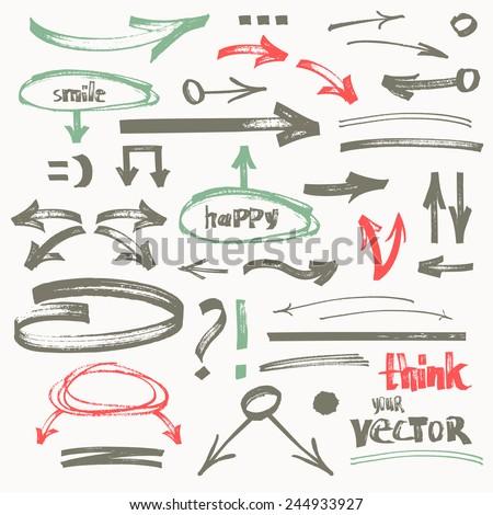 Vector hand-drawn flat marker arrows - stock vector