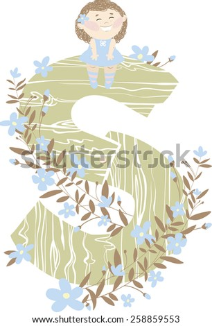 "Vector hand drawn Floral and Wooden children monogram with sitting funny little girl and blue spring flowers. Letter ""S"" is perfect for your design - flyers, posters, invitations, cards and so on. - stock vector"