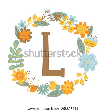 """Vector hand drawn Floral monogram with vintage flowers. Letters """"L"""" can be used for backgrounds of flyers, posters, invitations, cards, webs graphics, blogs, banners, and another design. - stock vector"""