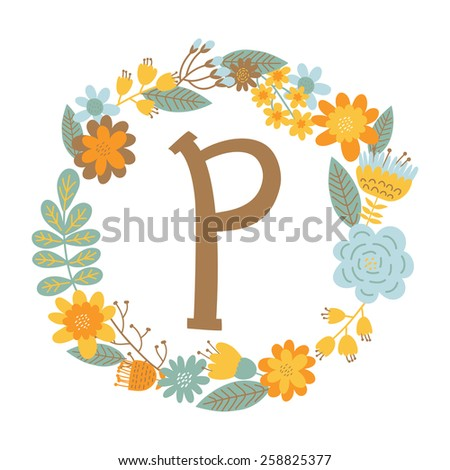 "Vector hand drawn Floral monogram with vintage flowers. Letters ""P"" can be used for backgrounds of flyers, posters, invitations, cards, webs graphics, blogs, banners, and another design. - stock vector"