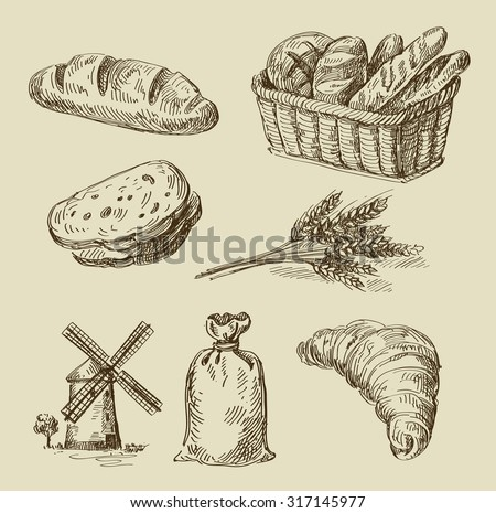 vector hand drawn food sketch and bread doodle - stock vector