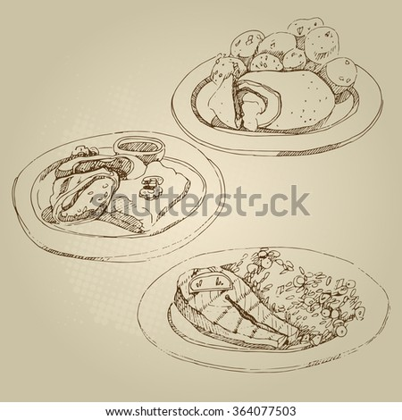Vector hand drawn food sketch Russian national traditional kitchen cutlet Kiev and stewed potatoes, cabbage rolls, stuffed cabbage, salmon, lemon, rice with vegetables. - stock vector