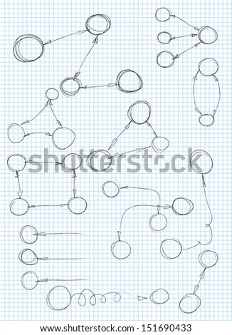 Vector hand drawn frames and bubbles collection - stock vector