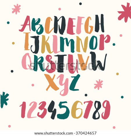 Vector hand drawn funky decorative font for your design. - stock vector