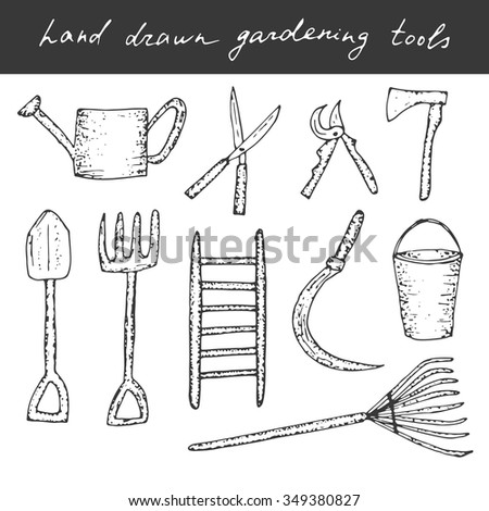 Vector hand drawn gardening, farming tools. Cute vector doodles. - stock vector