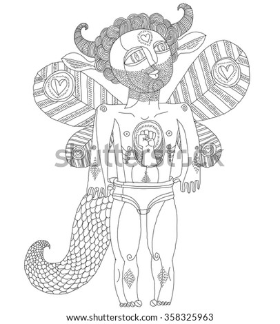 Vector hand drawn graphic illustration of bizarre creature, cartoon nude man with wings, animal side of human being. Idol concept, spirit allegory drawing.  - stock vector