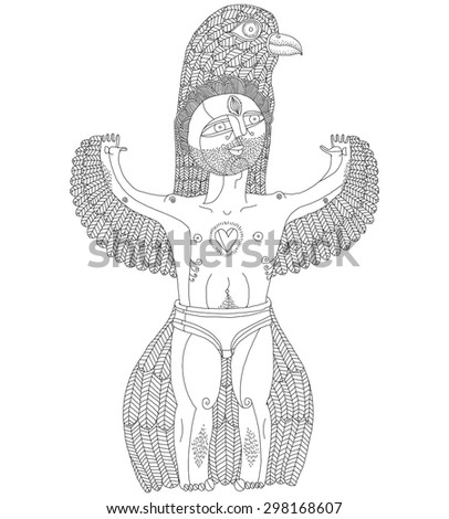 Vector hand drawn graphic illustration of weird creature, cartoon nude man with wings, animal side of human being. Idol concept, free as bird allegory drawing - stock vector