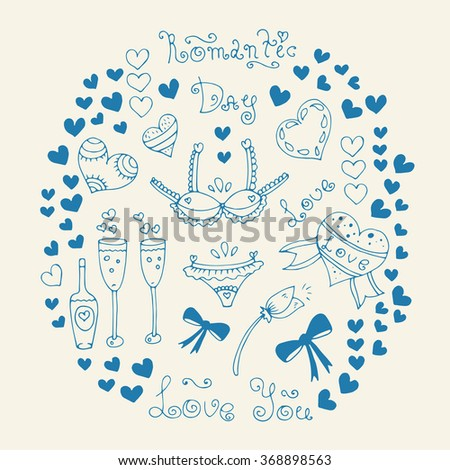 Vector hand-drawn greeting card with Valentine's Day symbols. Set  with original hand drawn phrase romantic day, love, love you, ornament and heart. On a pastel yellow background - stock vector