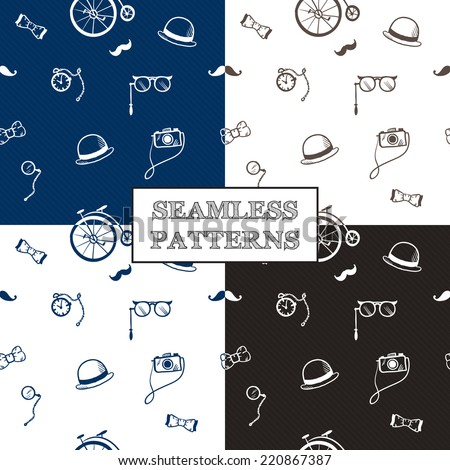 Vector hand drawn hipster seamless patterns set in doodle style - stock vector