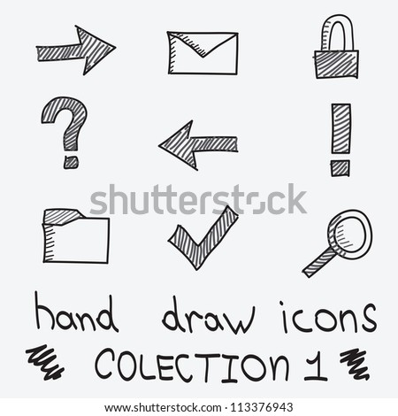 Vector hand drawn icons for web using - stock vector
