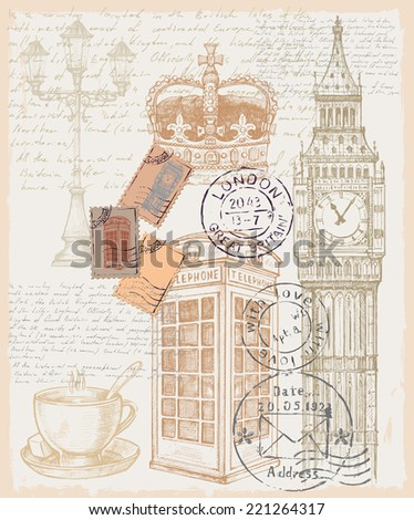 vector hand drawn illustration of great britain - stock vector