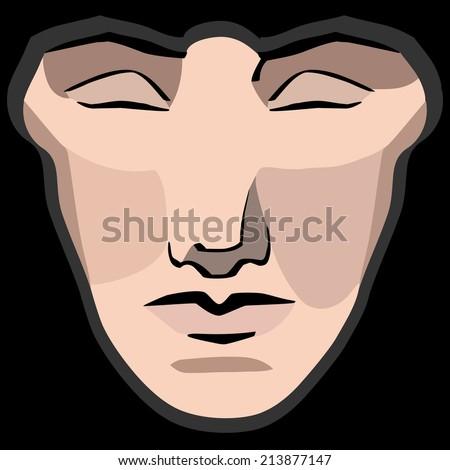 Vector hand-drawn illustration of monastic geometric woman face - stock vector