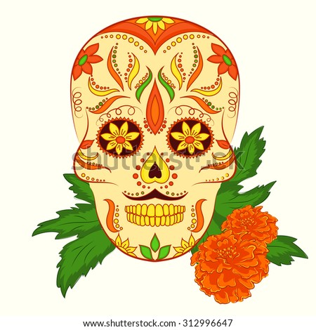 Vector hand drawn illustration of orange ornamental skull with mustache for day of dead. - stock vector
