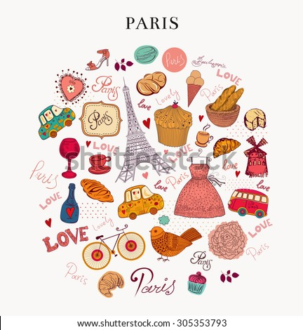 Vector hand drawn illustration. Paris - stock vector