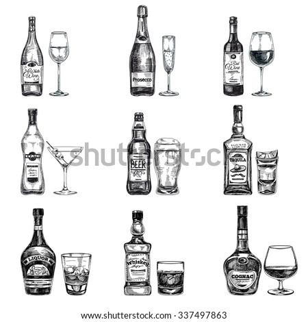 Vector hand drawn illustration with alcoholic drinks. Sketch. - stock vector