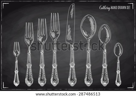 Vector hand drawn illustration with cutlery set. Sketch. Vintage illustration. Chalkboard. - stock vector