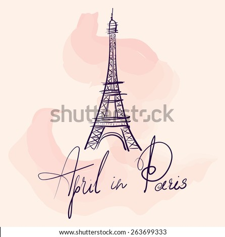 Vector hand drawn illustration with Eiffel tower. Symbol of Paris - stock vector