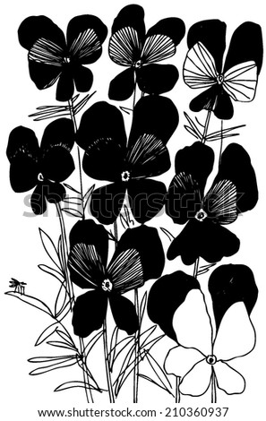 Vector hand drawn illustration with flower viola tricolor. - stock vector