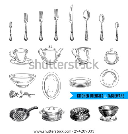 Vector hand drawn illustration with kitchen tools. Sketch.  - stock vector