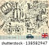 Vector hand drawn illustration with London symbols. Old post card - stock vector