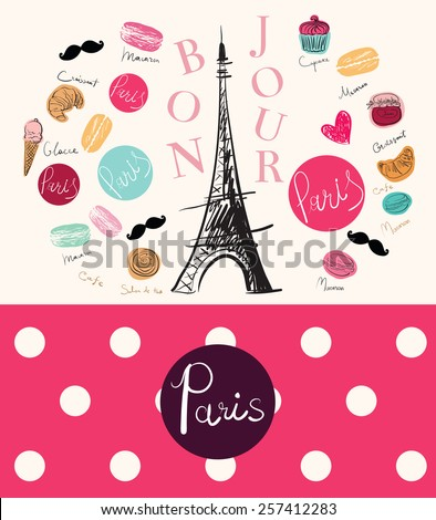 Vector hand drawn illustration with Paris symbol - stock vector