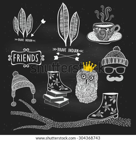 Vector hand drawn illustrations on the chalkboard in school. Cute design in hipster style. - stock vector