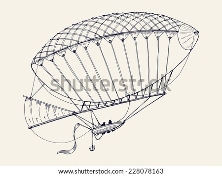Vector hand drawn ink pen illustration of ancient airship flying | Vintage dirigible line art drawing - stock vector