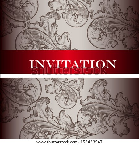 Vector hand drawn  invitation design in classic floral style - stock vector