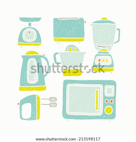 Vector hand drawn kitchen appliances old textured - stock vector