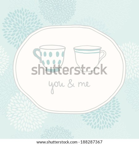 Vector hand drawn love card with two cups - stock vector