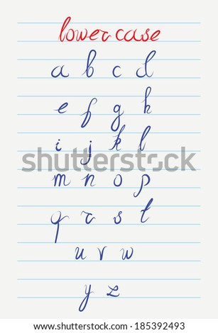 Vector hand drawn lower case calligraphic alphabet  - stock vector