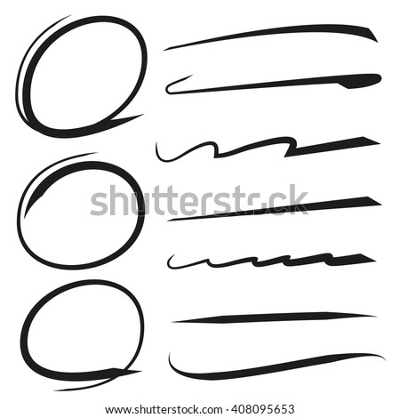 vector hand drawn marker elements, circles, underlines - stock vector