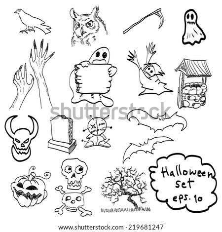 vector hand drawn of Halloween objects . - stock vector