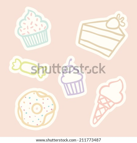 Vector hand drawn outline sweet objects: cupcakes, ice cream, cake, donut, candy - stock vector