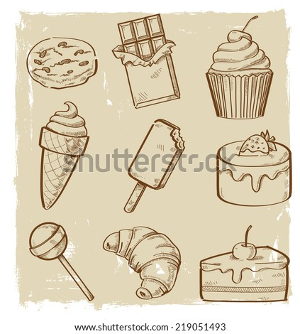 vector hand drawn picture of sweet seamless - stock vector
