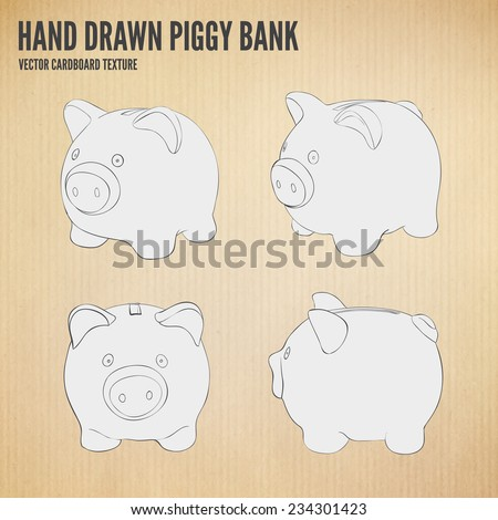 Vector Hand drawn piggy bank set. Money savings concept on cardboard texture background. - stock vector