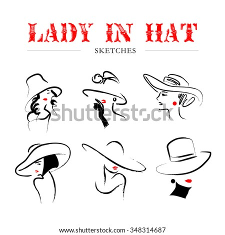 Vector hand drawn portrait of young stylish girl face isolated on white background. Fashion woman in hat portrait. Good for magazine cover, journal article, print, package design, shop and store logo. - stock vector