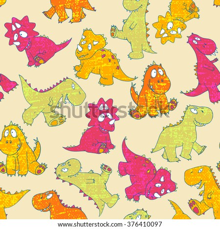 vector hand drawn seamless cute cartoon childish little baby dinosaur pattern. colorful, bright, original modern, playful background print. - stock vector