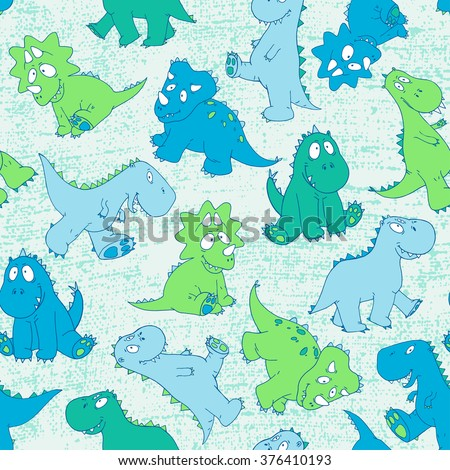 vector hand drawn seamless cute cartoon childish little baby dinosaur pattern. colorful, bright, original modern, playful background print. - stock vector