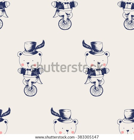 vector hand drawn seamless pattern in vintage style.Baby Bear ridding on a bicycle. Bear gentleman/circus/can be used as kids or baby's shirt design/textile/ fashion - stock vector