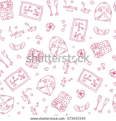 Vector hand drawn seamless pattern with Valentine's Day symbols. Original hand drawn phrase romantic day, love, bird, underwear, flower, ornament and heart. Drawn red lines on a white background - stock vector