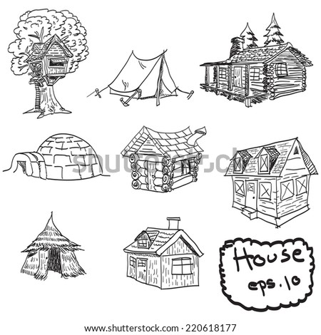 vector hand drawn set of houses, doodles - stock vector