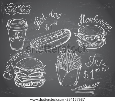 Vector hand drawn set of Retro Fast Food Menu with price on chalkboard in vintage style - stock vector