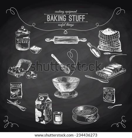 Vector hand drawn set. Vintage Illustration with milk, sugar, flour, vanilla, eggs, mixer, baking powder, rolling, whisk, spoon vanilla bean, butter and kitchen dish. Chalkboard. - stock vector