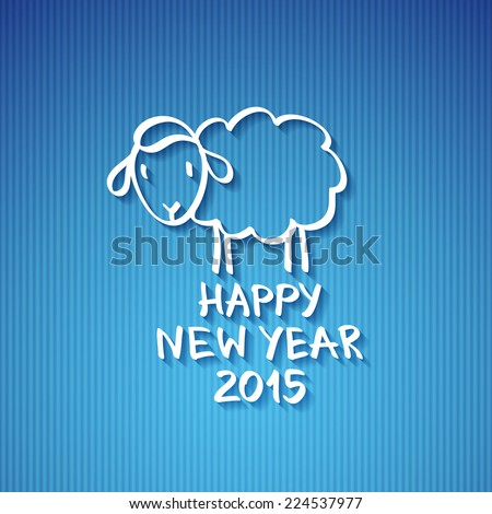 vector hand drawn sheep, happy new year 2015 - stock vector