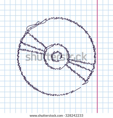 Vector hand drawn sketch compact disc icon on copybook. Doodle style  - stock vector