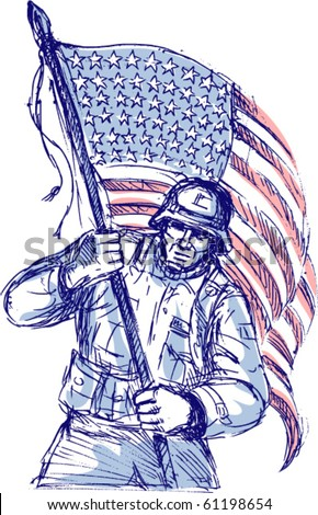 vector hand drawn sketch of an American soldier in full battle gear carrying stars and stripes flag isolated on white background - stock vector