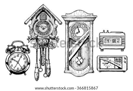 Vector hand drawn sketch of old clocks set in ink hand drawn style. Alarm clock, Cuckoo clock, pendulum clock, digital alarm clock and radio clock.  - stock vector