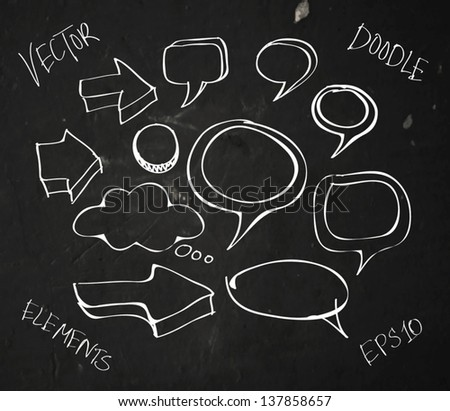 Vector hand drawn sketchy doodle elements - stock vector